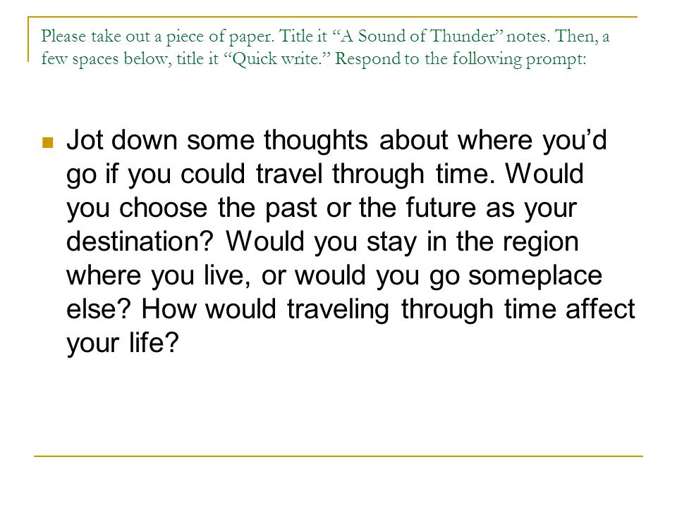 sound of thunder essay prompt