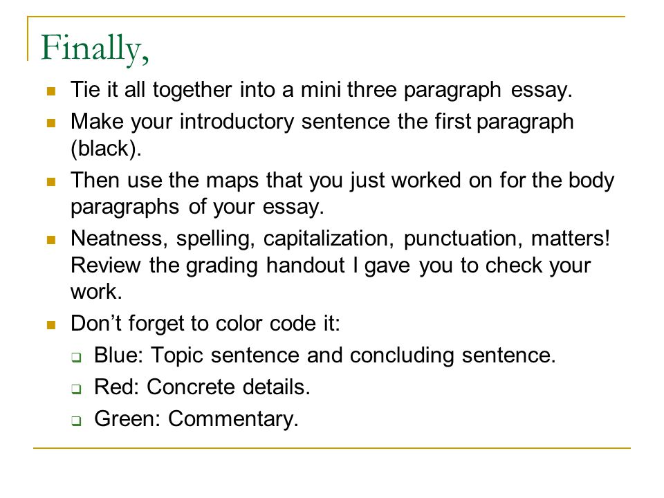 into paragraph essay The introductory paragraph of any paper, long or short, should start with a sentence that piques the interest of your readers in a well-constructed first paragraph, that first sentence will lead into three or four sentences that provide details about the subject or your process you will address in the body of your essay.