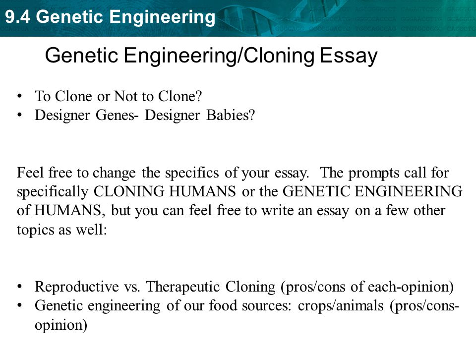 the pros of therapeutic cloning essay To the editor: in the may 16 issue, three articles deal with public policy on stem-cell research1–3 the authors of all three articles agree that reproductive cloning should be banned but that research on therapeutic cloning (ie, nuclear transplantation to produce human embryos as sources of stem cells) should be permitted.