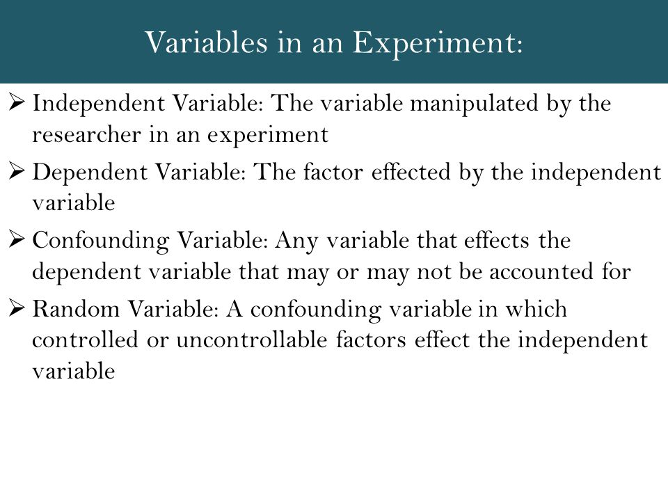 Variables in an Experiment: