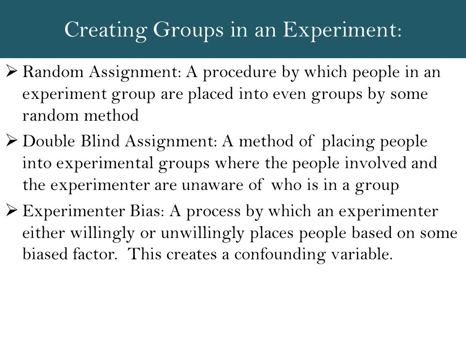 Creating Groups in an Experiment: