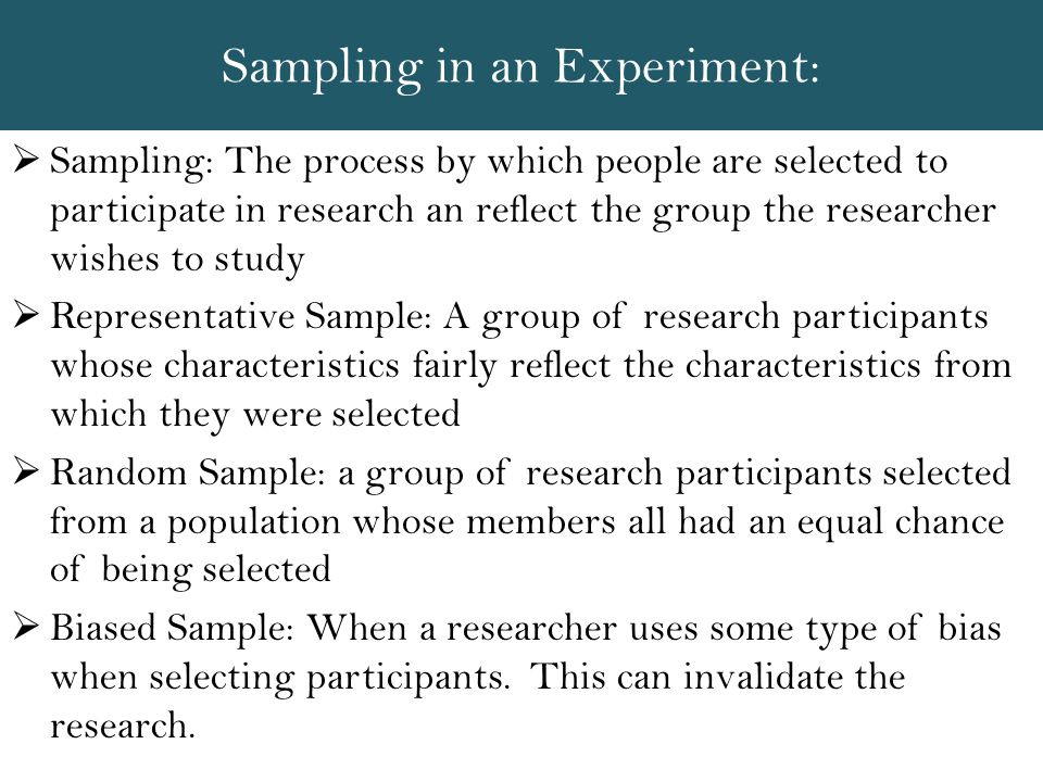 Sampling in an Experiment: