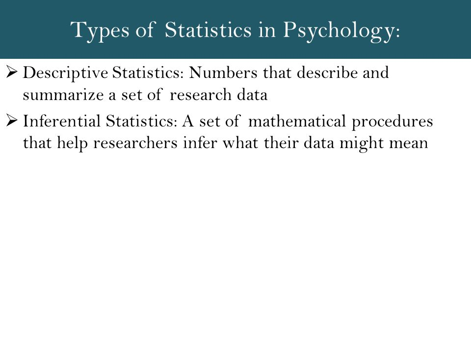 Types of Statistics in Psychology: