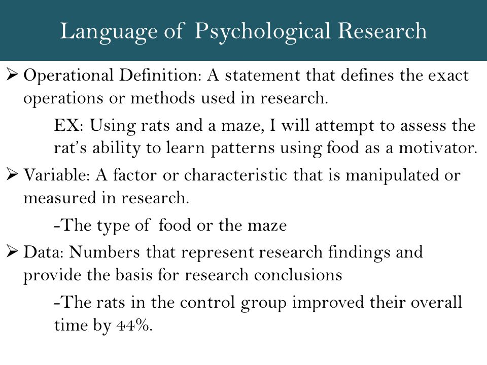 Language of Psychological Research
