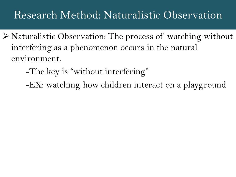 Research Method: Naturalistic Observation