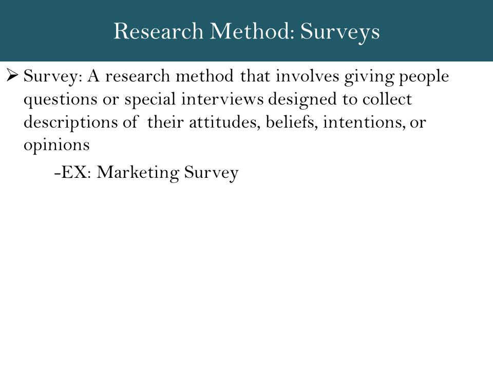 Research Method: Surveys