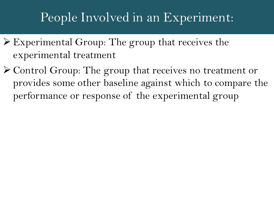 People Involved in an Experiment: