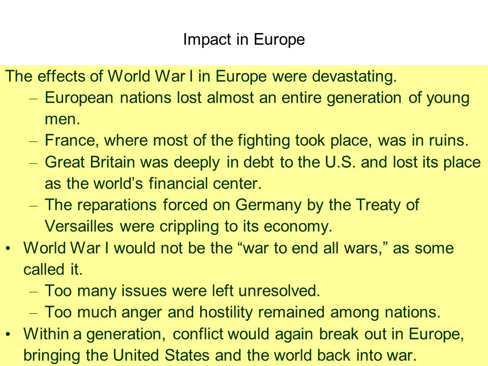 Impact of world war i on european society