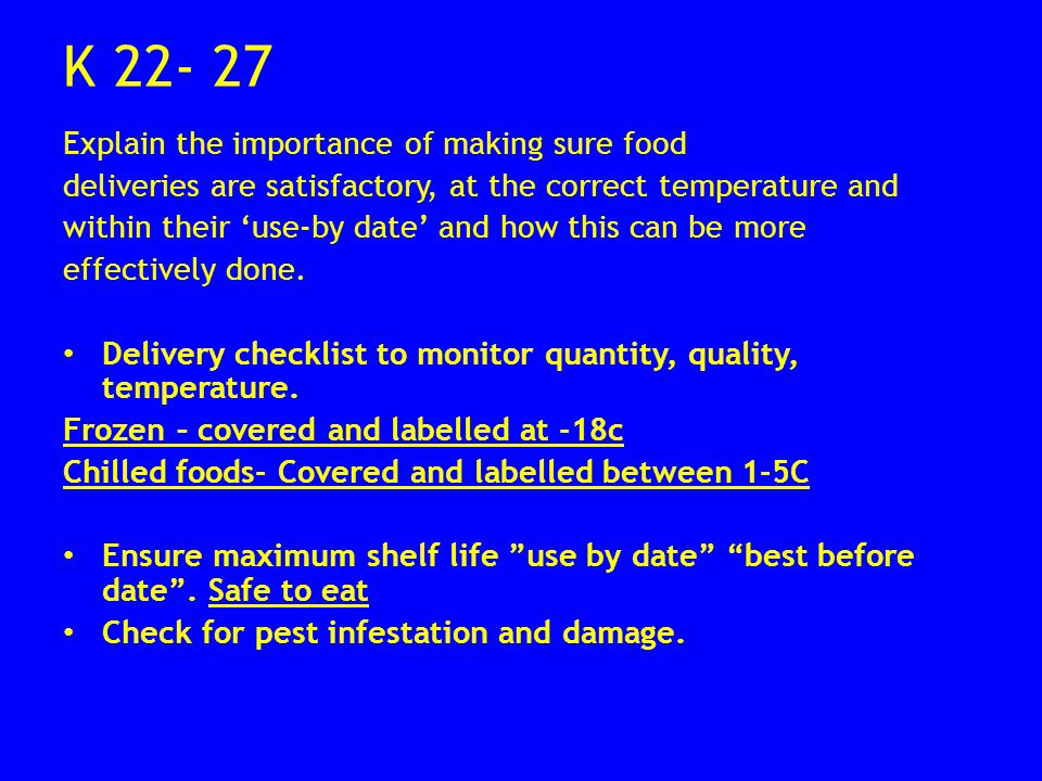 State The Importance Of Storing Food At The Correct Temperature