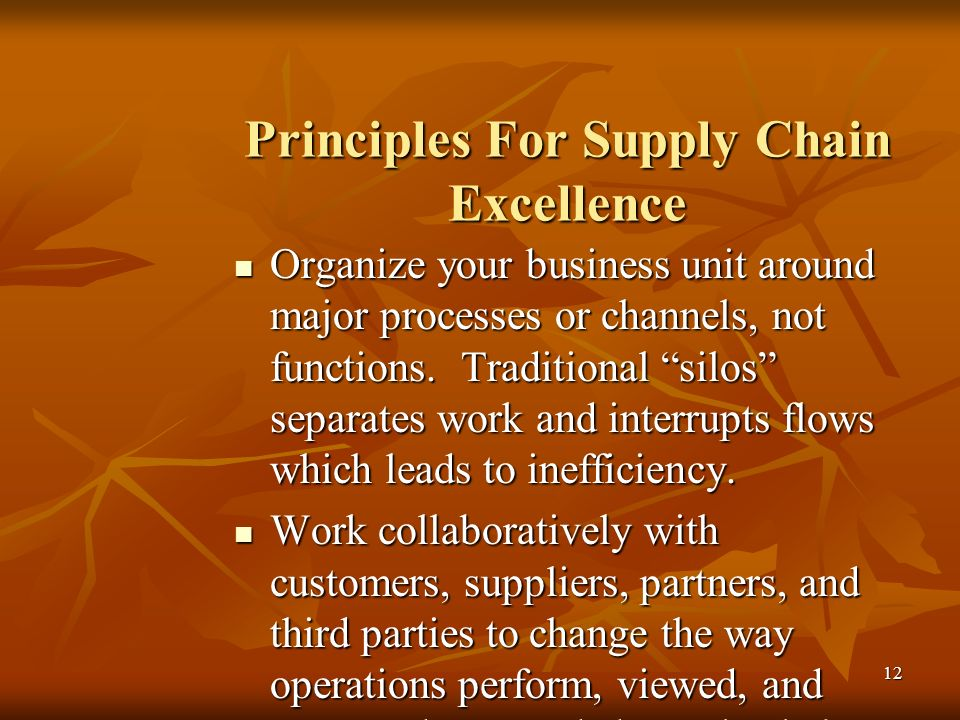 Principles For Supply Chain Excellence