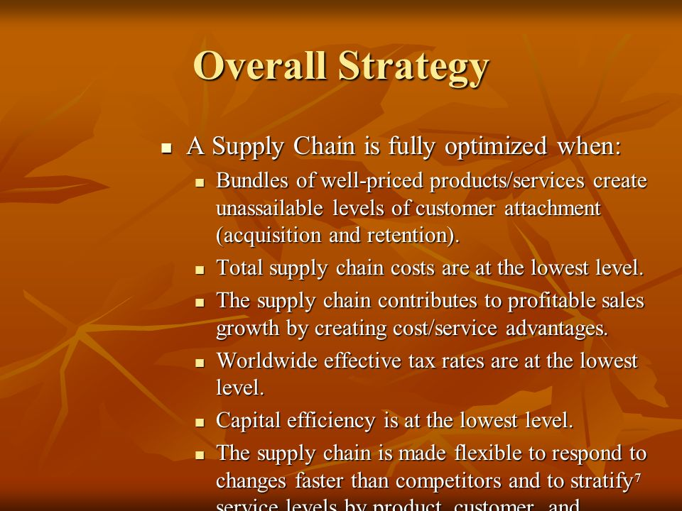 Overall Strategy A Supply Chain is fully optimized when: