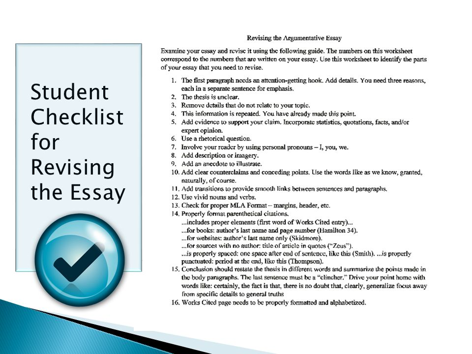 checklist for writing an essay Guide to writing an essay guide to writing an essay skip to content help search search for: site index qut cite qut write essay writing checklist have i.