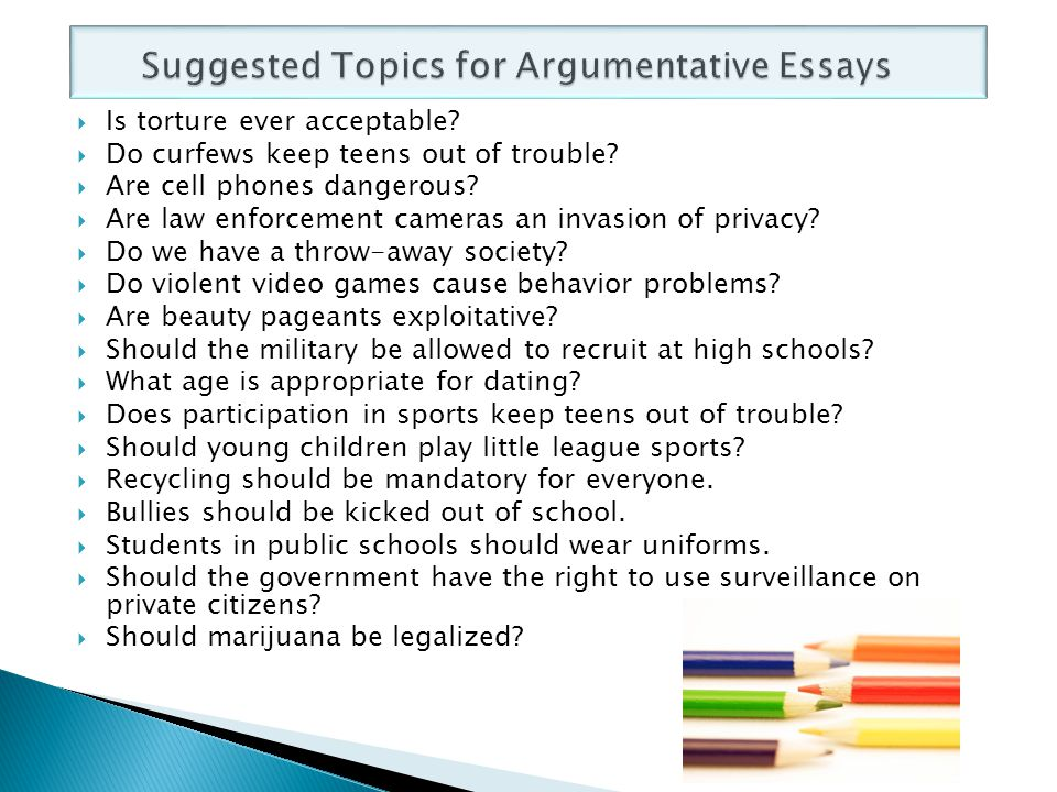 topics for an argumentative research paper Top argumentative topics list 2017 with some useful tips on writing a flawless argumentative essay as you may already know, an argumentative essay is a writing genre where the student establishes a position on a given or chosen topic and then uses evidence to persuade the audience to see things from his/her point of view.