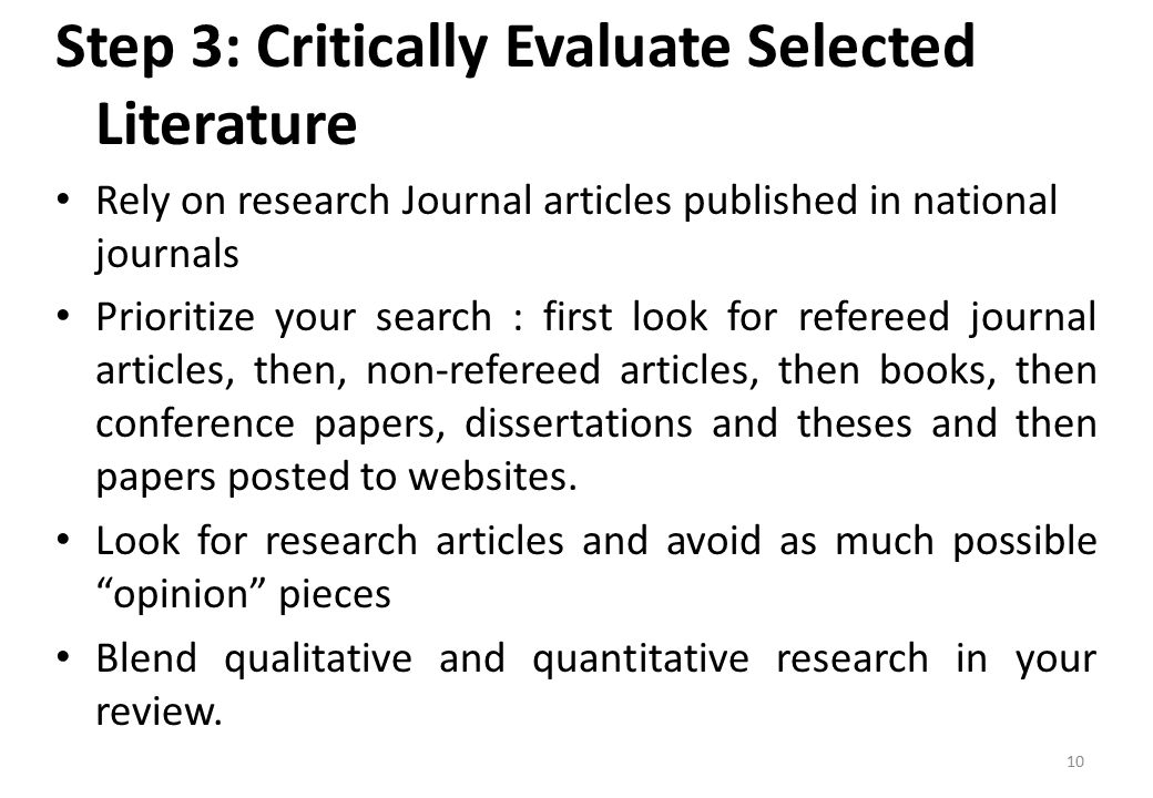 Research and critically evaluate the role