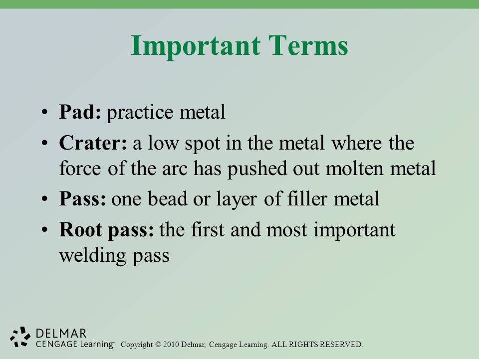 Important Terms Pad: practice metal