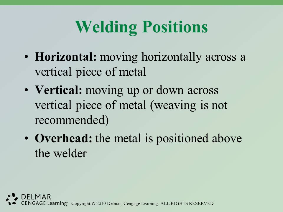 Welding Positions Horizontal: moving horizontally across a vertical piece of metal.