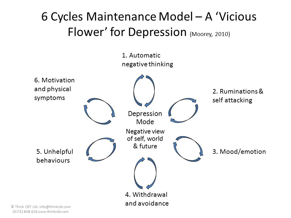 6 Cycles Maintenance Model – A 'Vicious Flower' for Depression (Moorey, 2010)