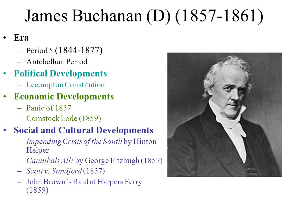 James Buchanan (D) (1857-1861) Era Political Developments