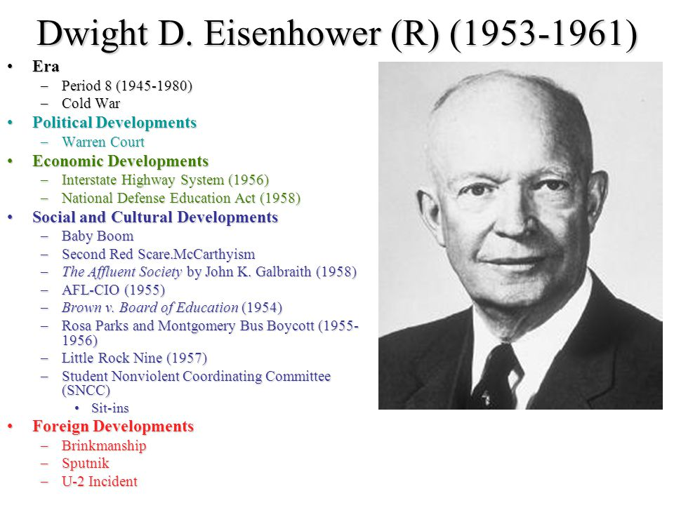 Dwight D. Eisenhower (R) (1953-1961)