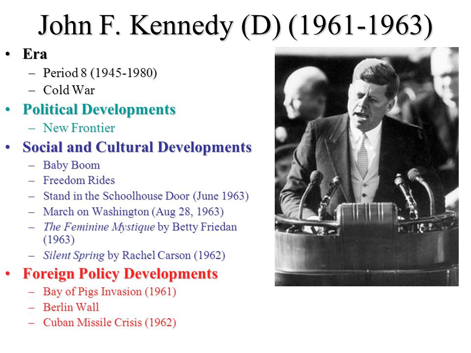 John F. Kennedy (D) (1961-1963) Era Political Developments