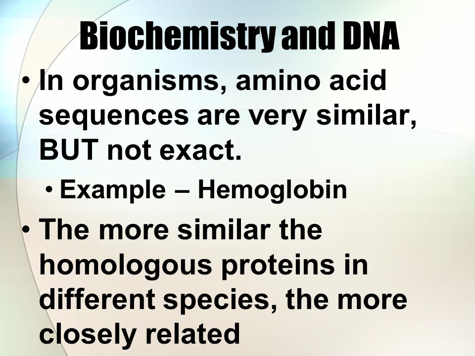 Biochemistry and DNA In organisms, amino acid sequences are very similar, BUT not exact. Example – Hemoglobin.