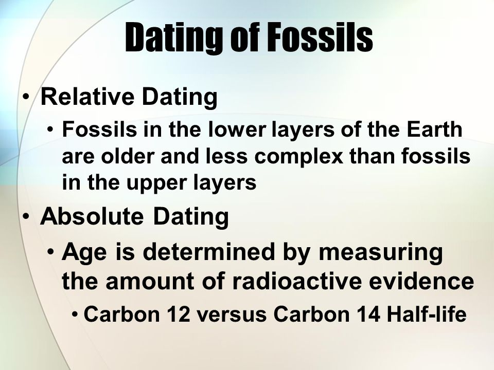 describe how relative dating of fossils are determined