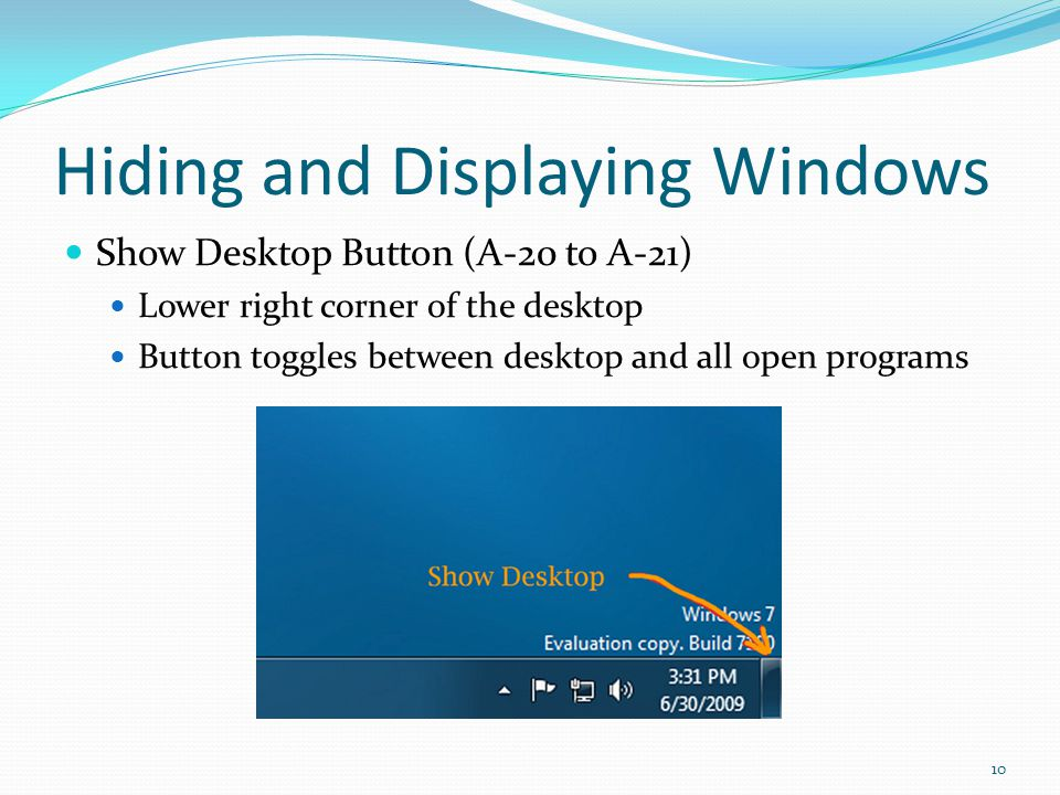 Hiding and Displaying Windows