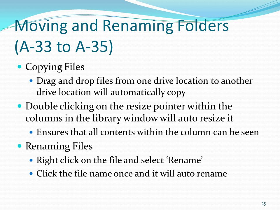 Moving and Renaming Folders (A-33 to A-35)