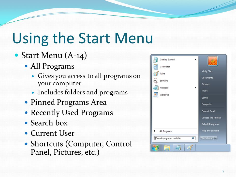 Using the Start Menu Start Menu (A-14) All Programs