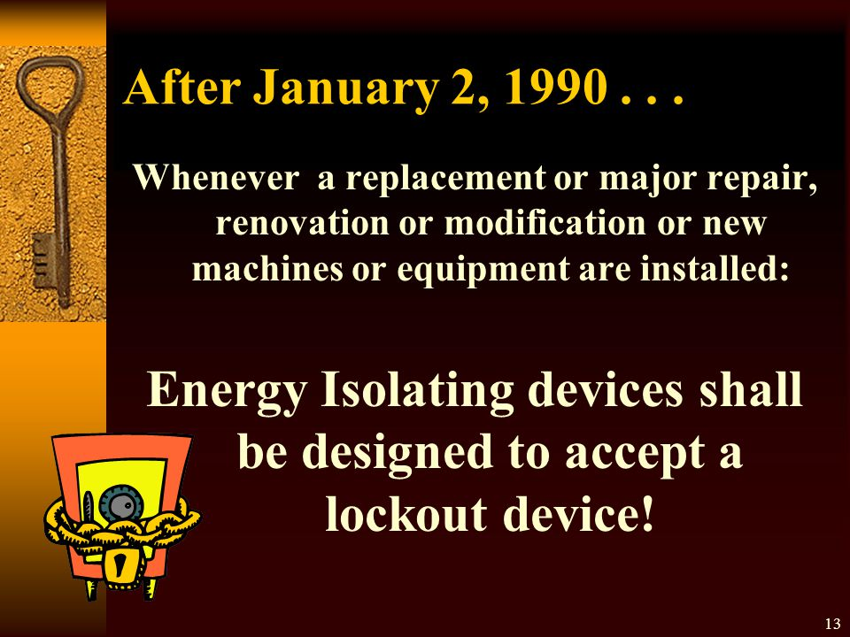 Energy Isolating devices shall be designed to accept a lockout device!