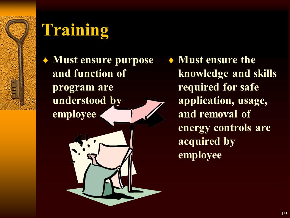Training Must ensure purpose and function of program are understood by employee.