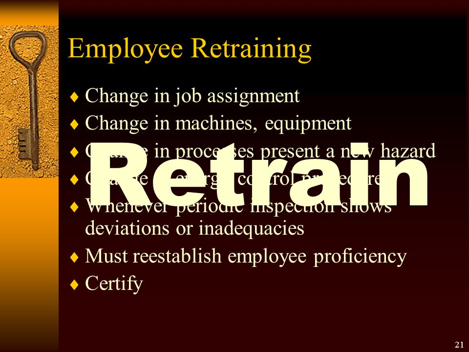 Retrain Employee Retraining Change in job assignment