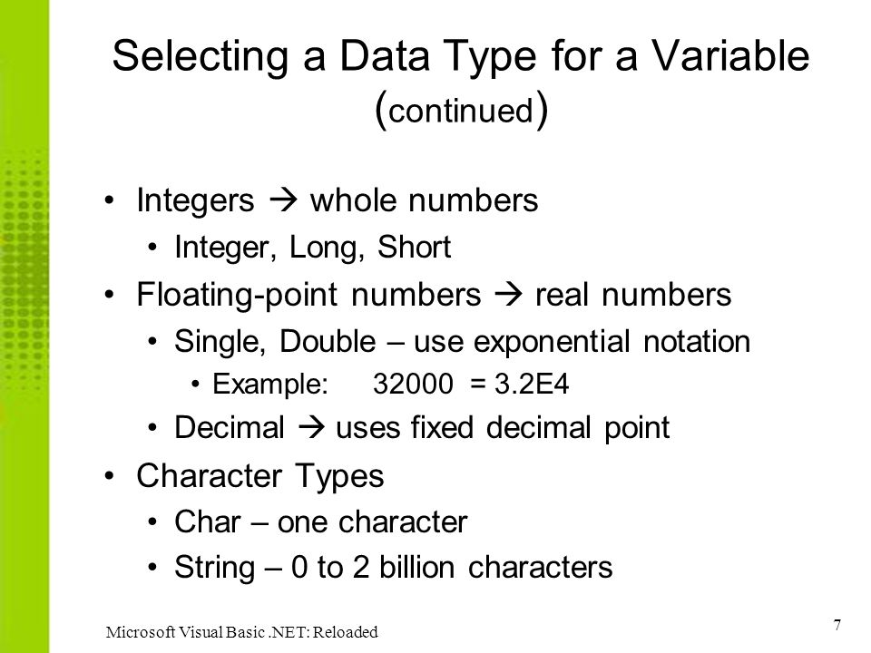 Data type and visual basic essay