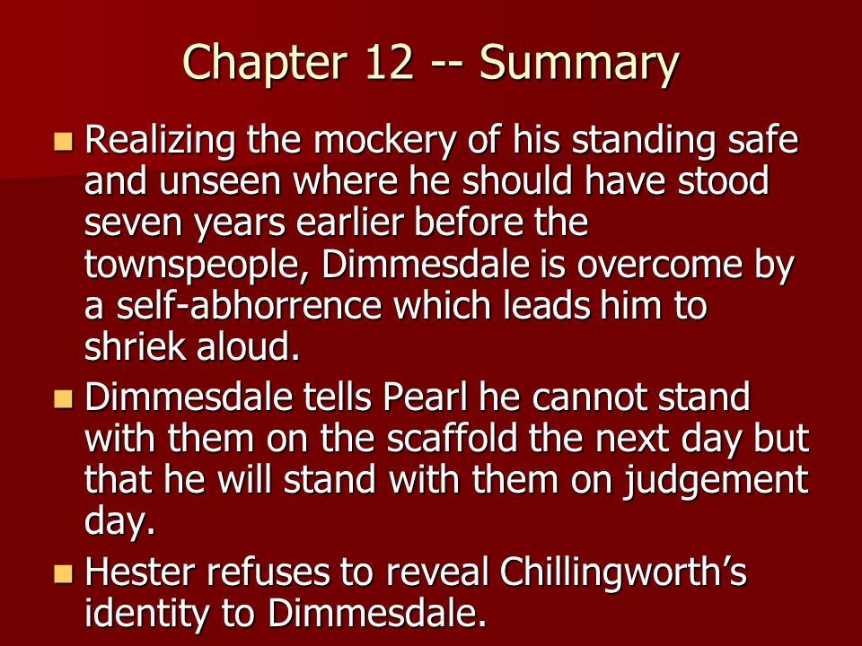 scarlet letter chapter summaries The scarlet letter summary - the scarlet letter by nathaniel hawthorne summary and analysis.