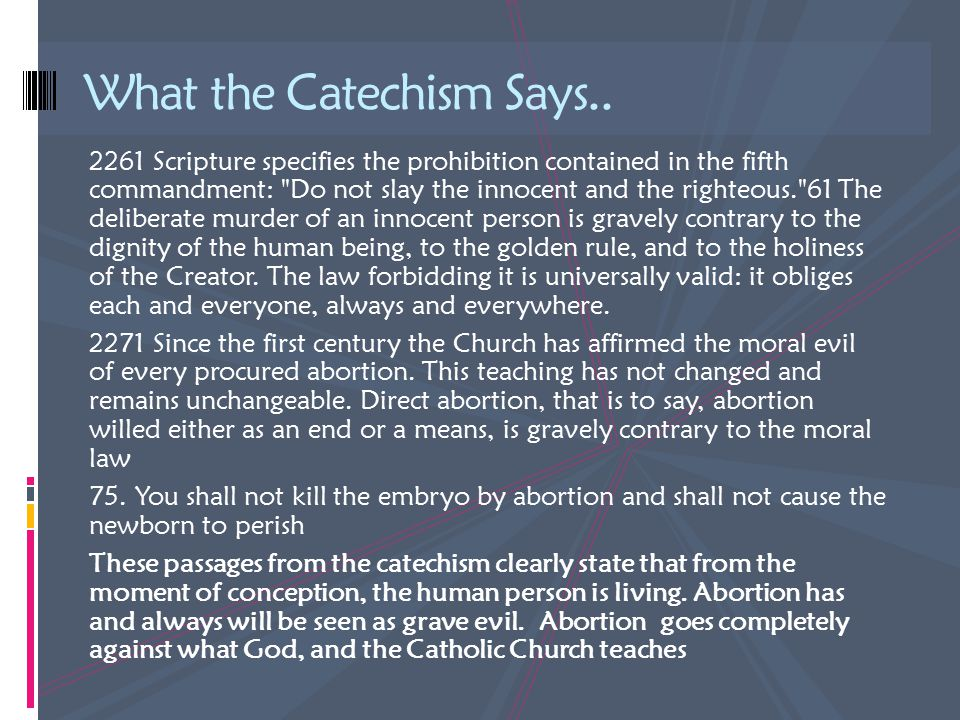 What the Catechism Says..