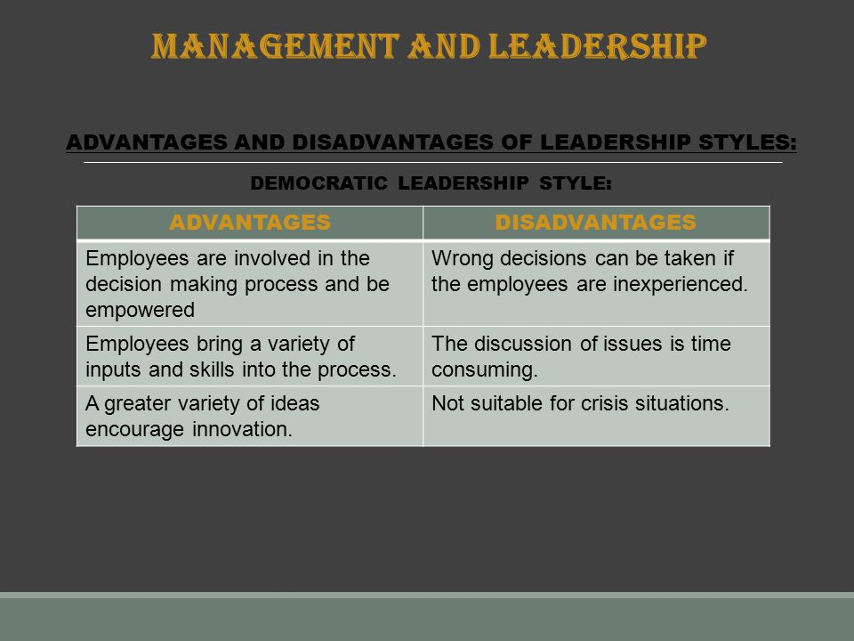transformational leadership advantages and disadvantages The disadvantages of clan culture in business transactional leadership limitations by kevin johnston related articles.