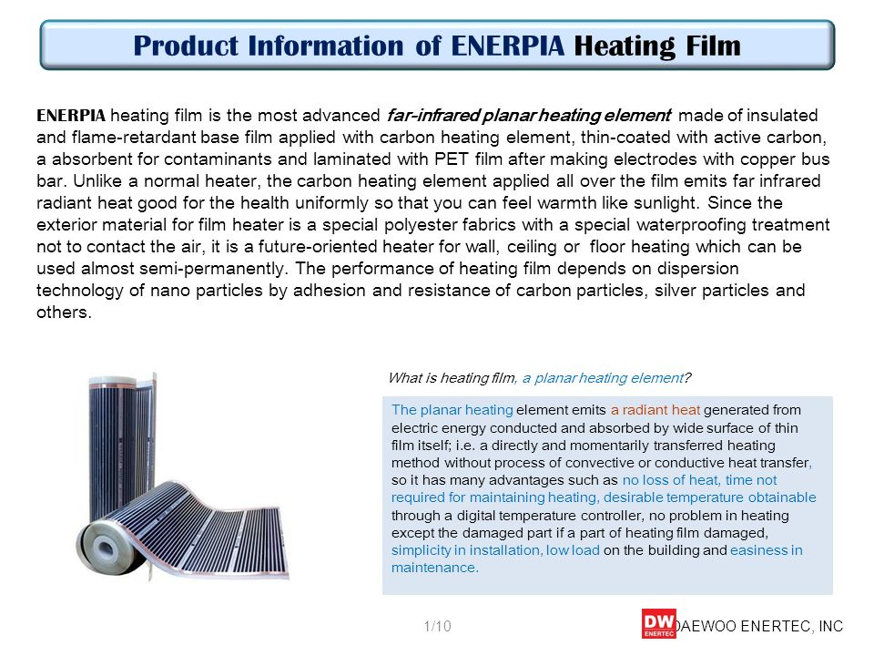 Product Information of ENERPIA Heating Film