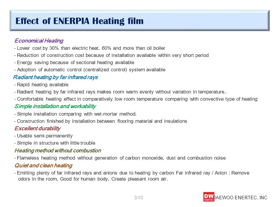 Effect of ENERPIA Heating film