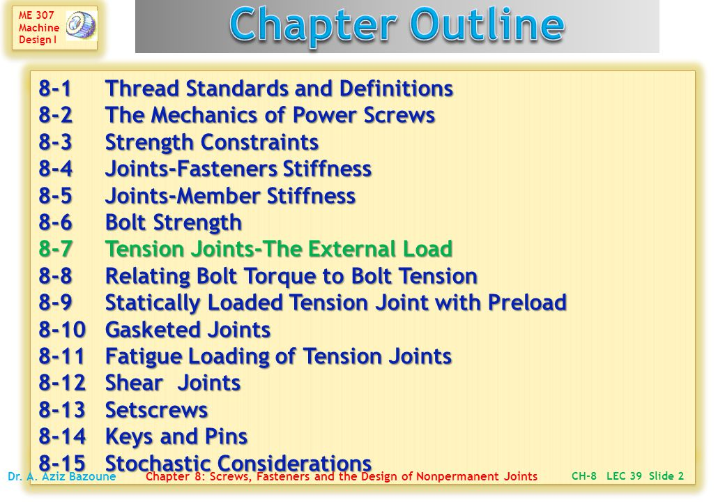 Chapter Outline 8-1 Thread Standards and Definitions 8-2 The Mechanics of Power Screws 8-3 Strength Constraints 8-4 Joints-Fasteners Stiffness.