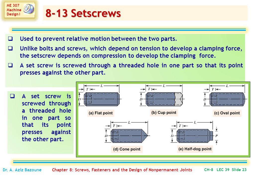 8-13 Setscrews Used to prevent relative motion between the two parts.