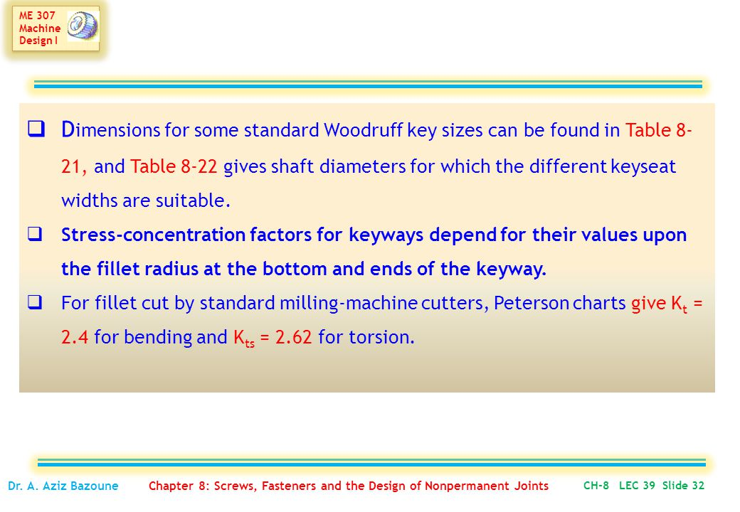 Dimensions for some standard Woodruff key sizes can be found in Table 8-21, and Table 8-22 gives shaft diameters for which the different keyseat widths are suitable.