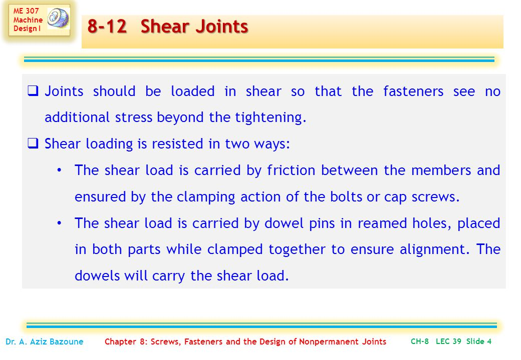 8-12 Shear Joints Joints should be loaded in shear so that the fasteners see no additional stress beyond the tightening.