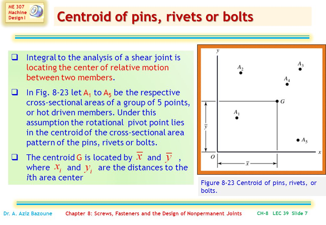 Centroid of pins, rivets or bolts