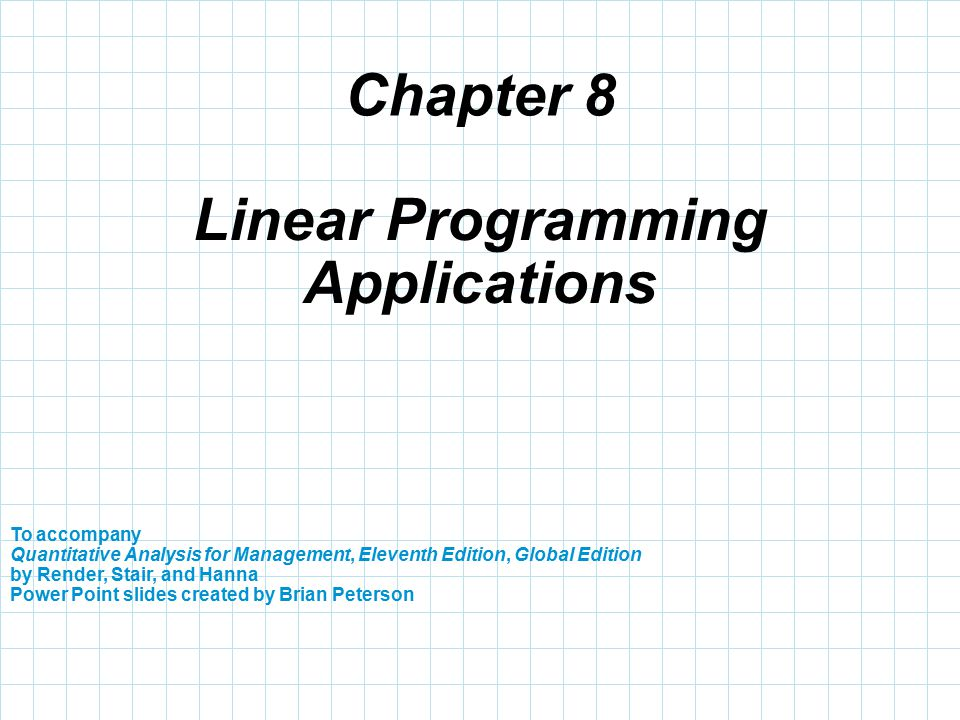linear programming applications Linear programming linear programming is a mathematical technique used in solving a variety of problems related with management, from scheduling, media selection, financial planning to capital budgeting, transportation and many others, with the special characteristic that linear programming expect always to maximize or minimize some quantity.