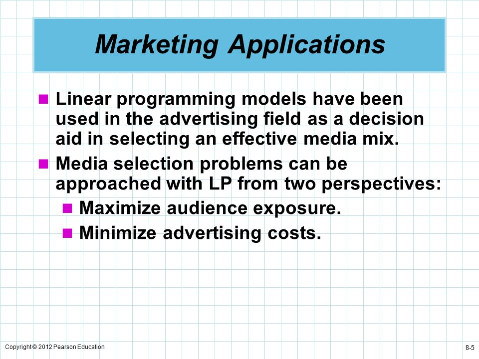 linear programming applications Linear inequalities and linear programming section 3 linear progggramming in two dimensions: a geometric approach linear programming in two dimensions: a geometric approach in this section we will explore applications which utilize 2 in this section, we will explore applications which utilize the graph of a system of linear inequalities.