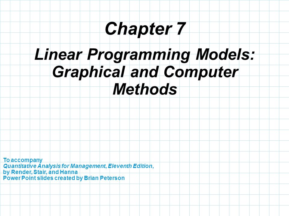 linear programming chapter 2002-9-5  solving linear programs 2 in this chapter,  these terms have been firmly established as part of linear-programming vernacular canonical is a word used in many.