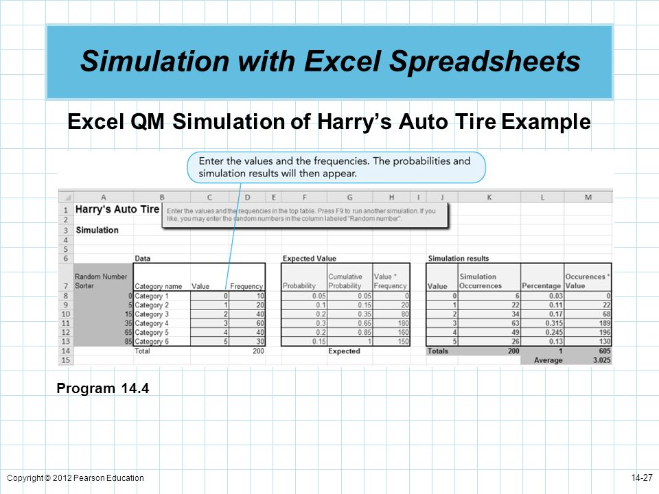 Simulation with Excel Spreadsheets