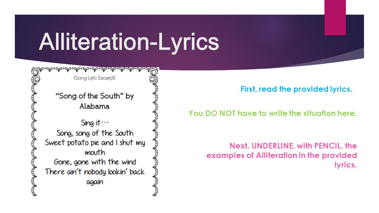 Examples Of Alliteration In Song Lyrics Images Example Cover