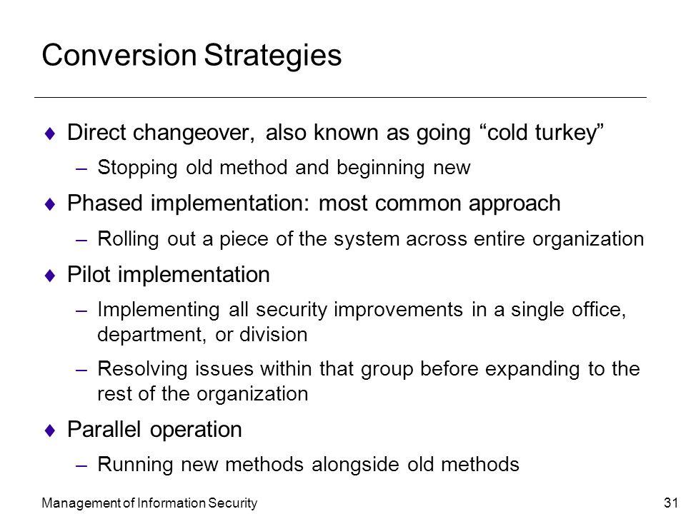 Pilot conversion strategy