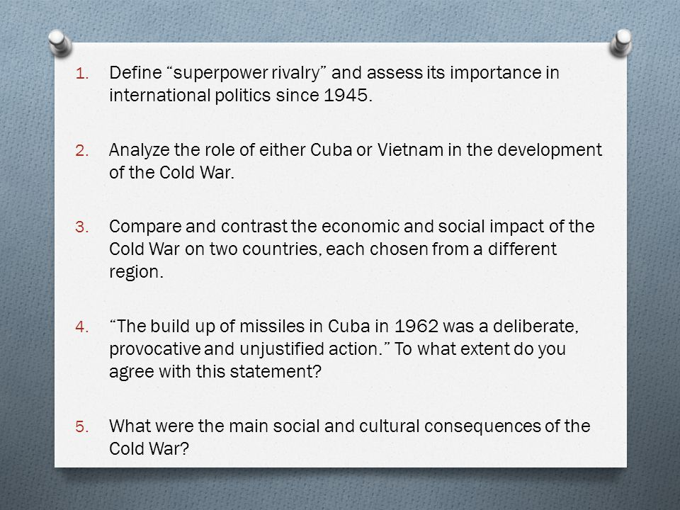 Analyse the role of Cuba in the development of the Cold War Essay